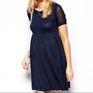 ASOS Maternity Knitted Dress With Chiffon Insert